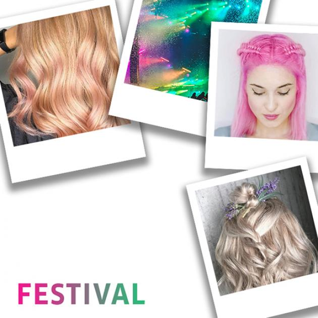 Polaroid photo collage of women with festival hair styles and ideas