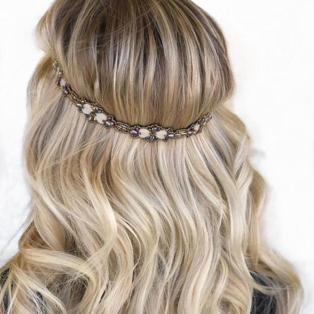 Back of woman's head with long, wavy, blonde hair and boho band.