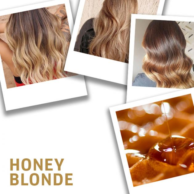 Collage of honey blonde hair color ideas created using Wella Professionals.