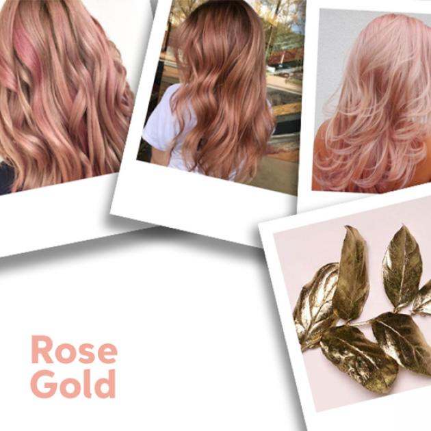 Polaroid collage of women with long, rose gold hair styles