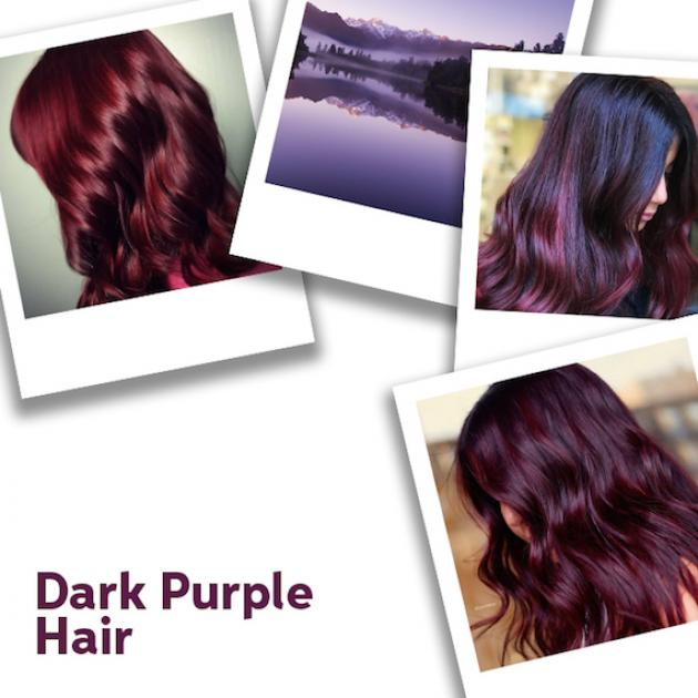 Collage of dark purple hair looks, created using Wella Professionals.