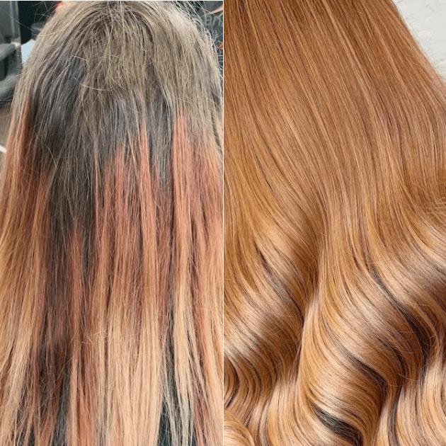 Before and after of gray coverage on copper hair, created using Wella Professionals.