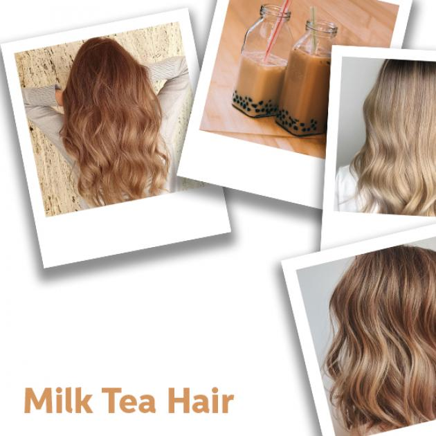 Collage of milk tea hair color