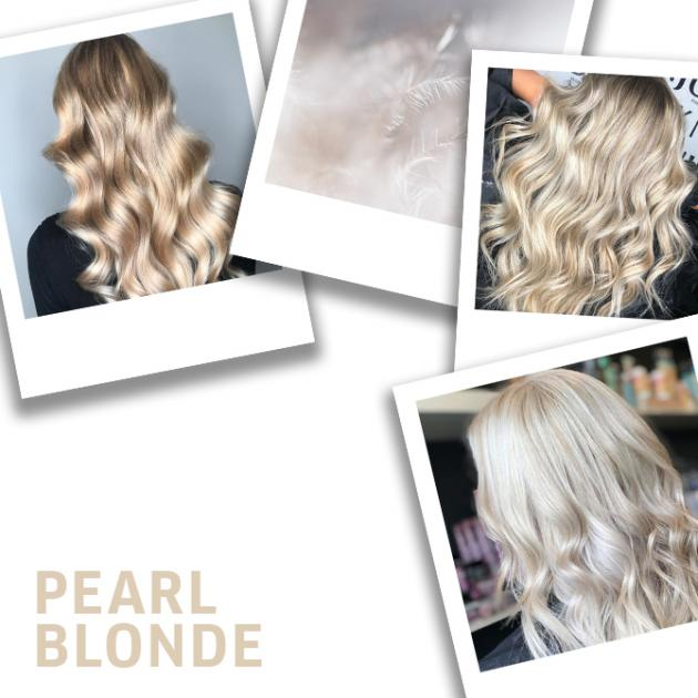 Collage of pearl blonde hair looks and white feathers.
