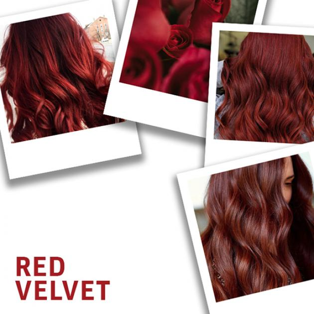 Collage of red velet hair color, created using Wella Professionals
