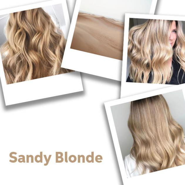 Collage of sandy blonde hair colour ideas.