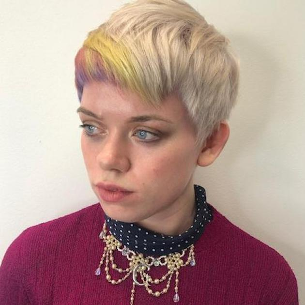 Woman with short multicoloured hair