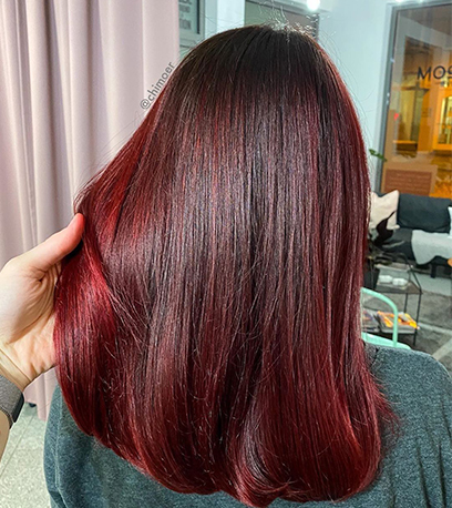 Deep mulled wine hair, created using Wella Professionals