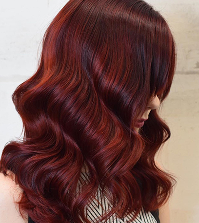 Velvet mulled wine hair, created using Wella Professionals