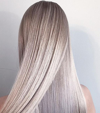 Icy ash blonde hair, created using Wella Professionals