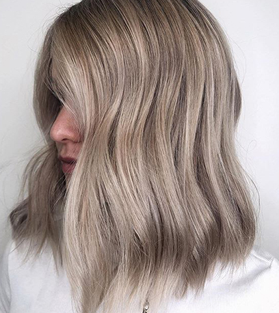 Mushroom ash blonde hair, created using Wella Professionals