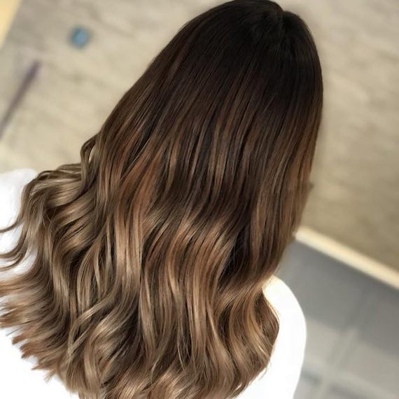 back of woman's head with ash brown ombre hair,created with Wella Professionals