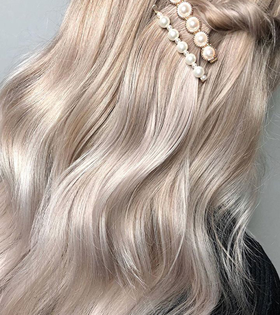 Pearl blonde hair, created using Wella Professionals