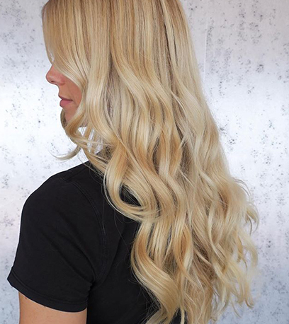 Vanilla blonde hair, created using Wella Professionals