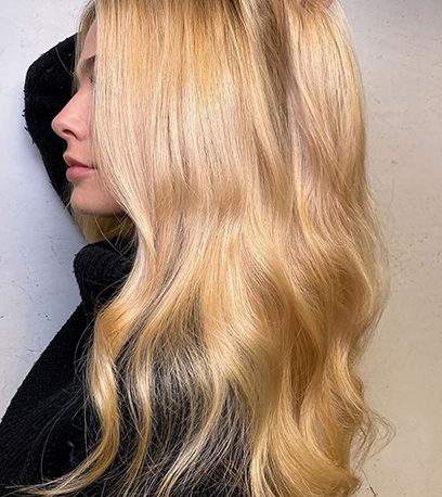Image of creamy butterscotch blonde hair, created using Wella Professionals
