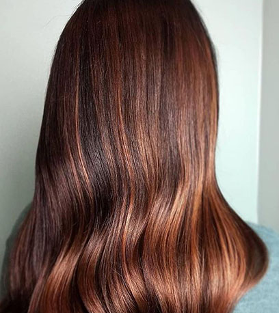 Back of woman's head with shoulder-length copper brown hair, created using Wella Professionals