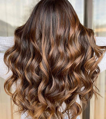 Back of woman's head with long, wavy, mahogany brown hair, created using Wella Professionals