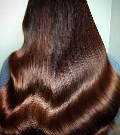 Back of woman's head with long, glossy bourbon brown hair created using Wella Professionals