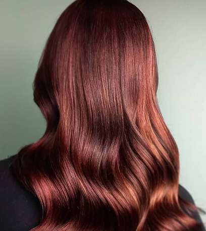 Luminous chilli chocolate hair, created using Wella Professionals