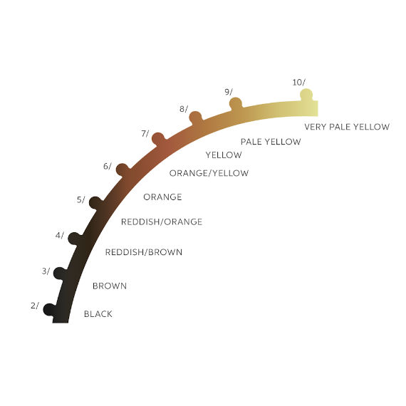 A diagram of a hair lightening curve, showing the different shade levels, by Wella Professionals.