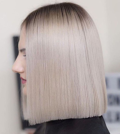 Image of monochromatic Glass Hair, created using Wella Professionals