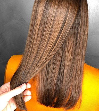 Back of woman's head with straight, caramel brown hair, created using Wella Professionals.