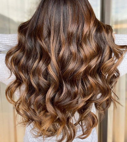 Back of woman's head with long, golden mahogany brown, curly hair, created using Wella Professionals.