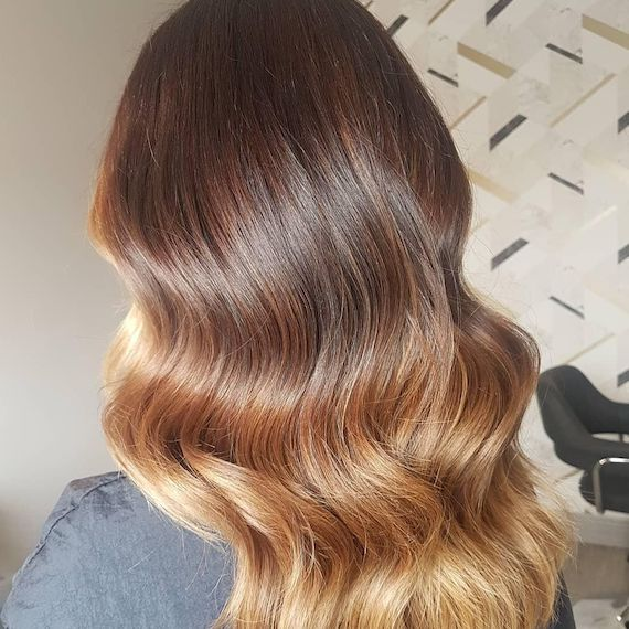 Back of woman's head showing long, wavy, honey ombre hair, created using Wella Pro-fessionals.
