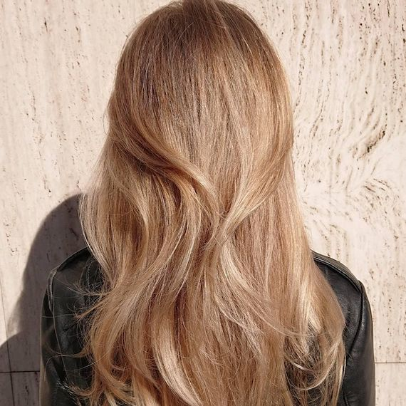 Back of woman's head showing long, golden honey hair, created using Wella Profession-als.