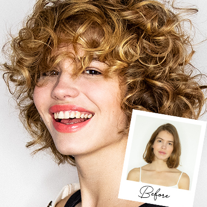 Woman with curly honey blonde hair, creat-ed using Wella Professionals.
