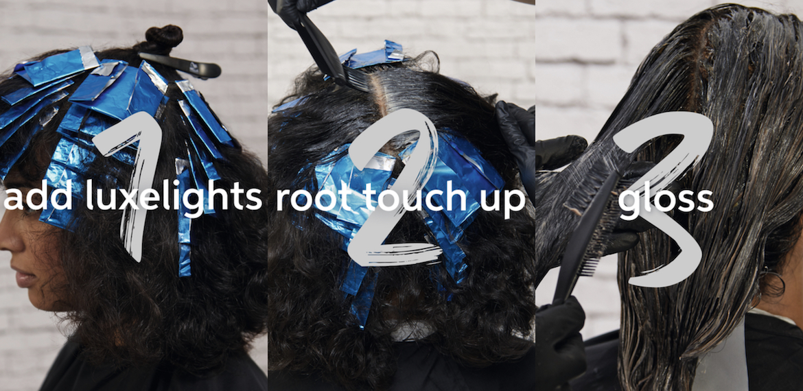 Collage showing the Wella Professionals Luxelights color service.