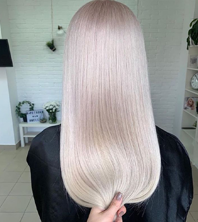 Back of luminous mother of pearl hair, created using Wella Professionals