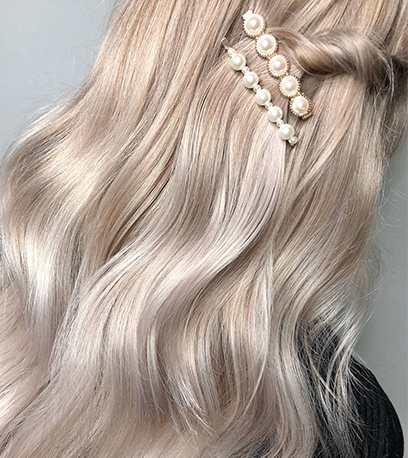 Back of warm mother of pearl hair, created using Wella Professionals