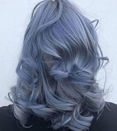 Slate blue hair, created using Wella Professionals