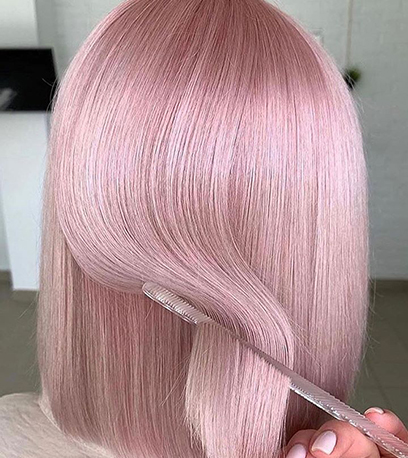 Metallic pink hair, created using Wella Professionals