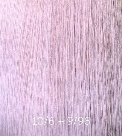 Pearlescent pink hair, created using Wella Professionals