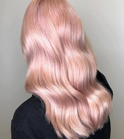 Powder rose gold hair, created using Wella Professionals