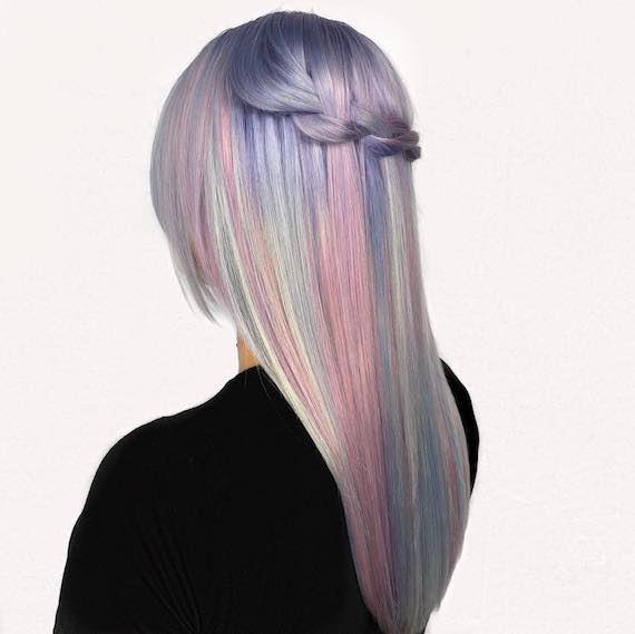 Model with rainbow hair in pastel hues, created with Koleston Perfect and Color Touch Instamatic