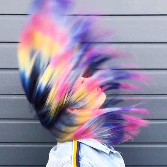Model with ombre rainbow hair created with Color Fresh Create