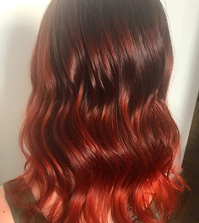 Red velvet hair color, created using Wella Professionals