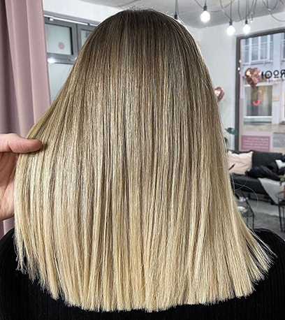 Image of gradient Rooted Baby Blonde Hair, created using Wella Professionals