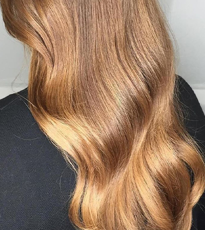 Back of woman's head with very long, wavy, golden brown sombre hair, created using Wella Professionals.