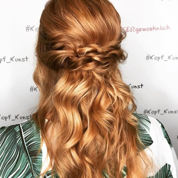 Back of a woman's head showing long wavy, rich ginger hair, created using Wella Professionals.
