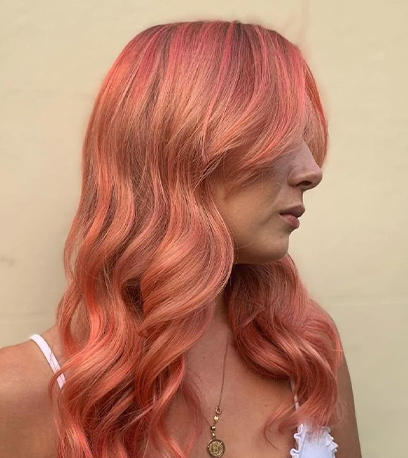 Image of rosey Sunset Blonde Hair, created using Wella Professionals