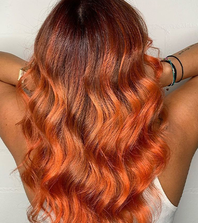 Image of fiery Sunset Blonde Hair, created using Wella Professionals