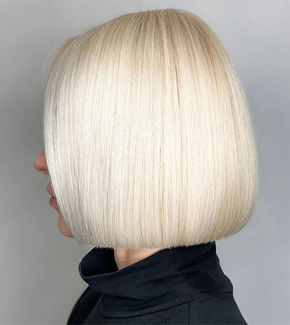 Sleek white chocolate hair, created using Wella Professionals