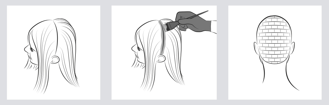 Three step-by-step illustrations showing the brickwork application on hair.